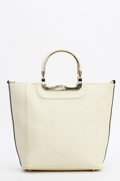 Metallic Handle Faux Leather Handbag