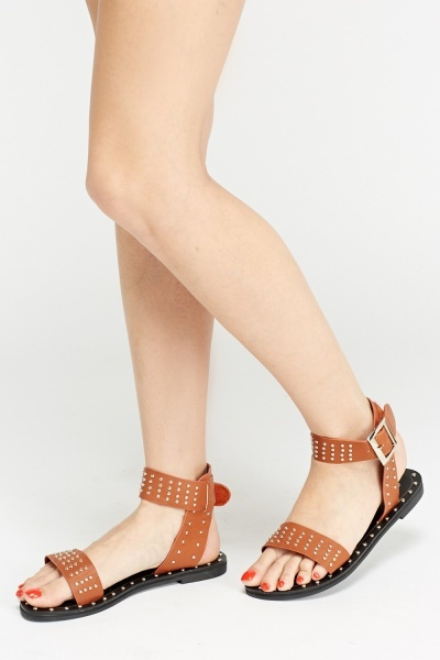 Studded Cut Ankle Sandals