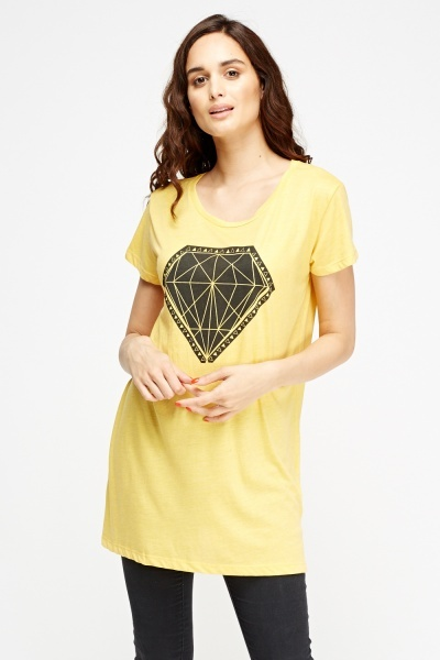 Diamond Print Long T-Shirt