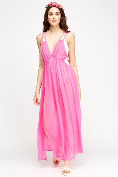 Image of Hot Pink Sheer Cover Up Dress