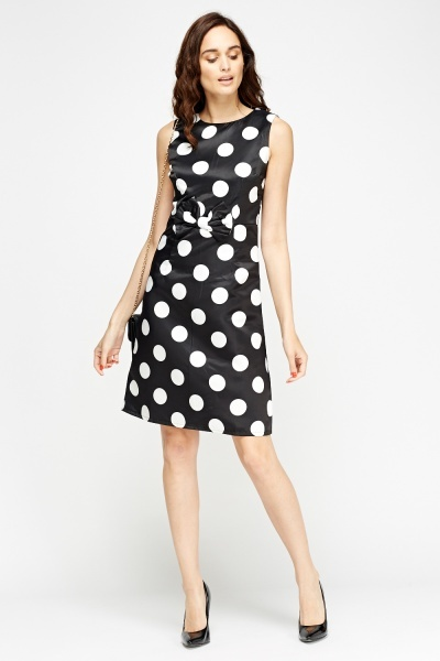 Polka Dot Sateen Skater Dress
