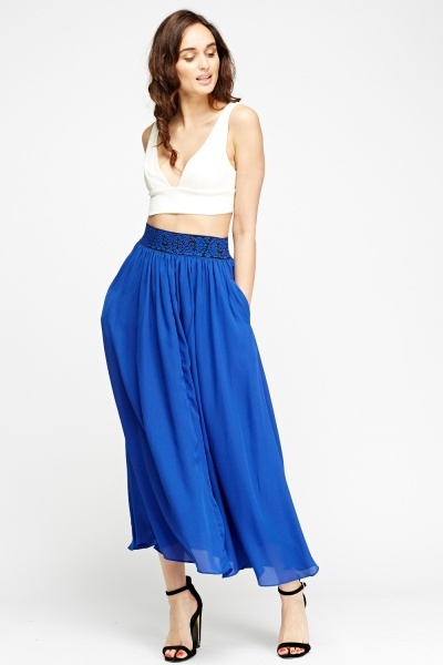 Stitched Waist Band Midi Skirt