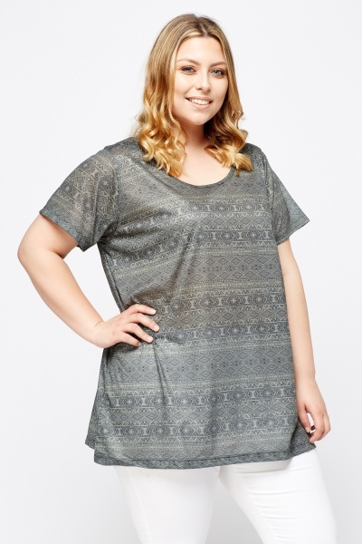 Aztec Printed Olive Top