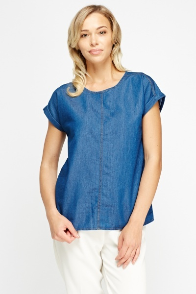Button Back Denim Blue Top