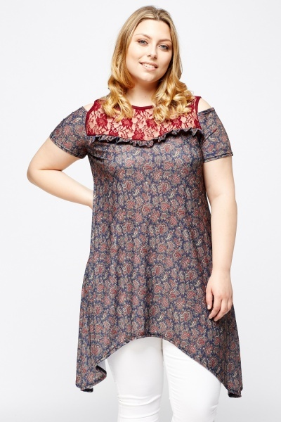Paisley Print Contrast Insert Lace Top