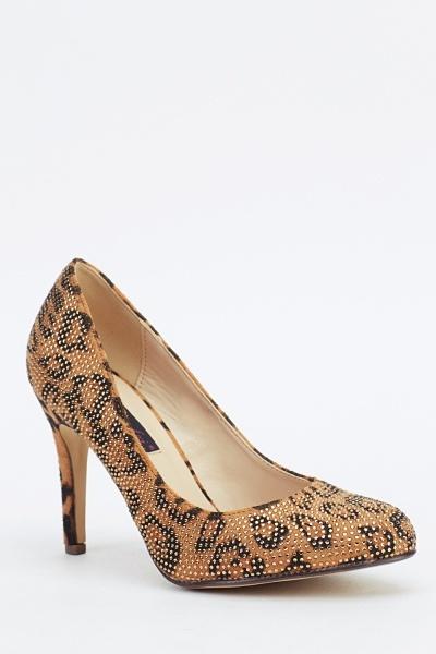 Animal Print Encrusted Heels