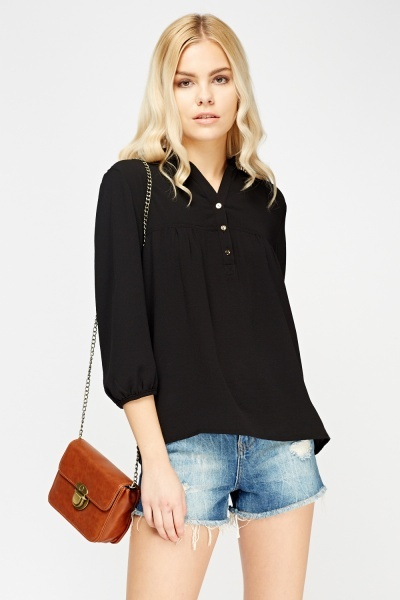 Button Neck Blouse