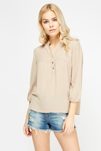Image of Button Neck Blouse