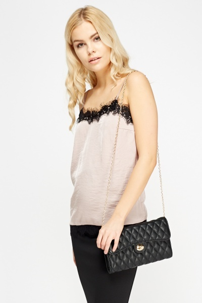 Dusty Pink Lace Trim Cami Top