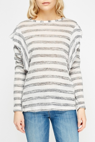 Frilled Sleeve Striped Top