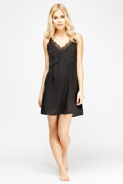 Image of Lace Insert Black Night Dress