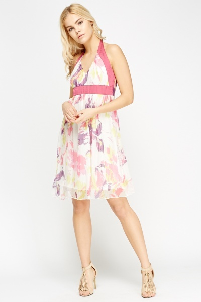 Sheer Floral Halter Neck Dress