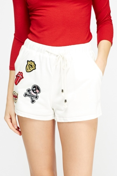 White Badged Casual Shorts