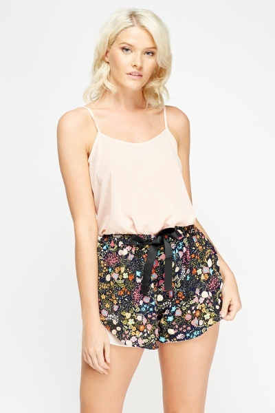 Floral Overlay Shorts