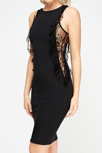 Lace Insert Side Bodycon Dress