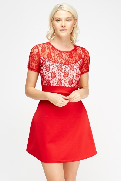 Lace Insert Swing Dress