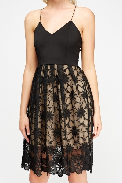 Mesh Hem Bodice Skater Dress