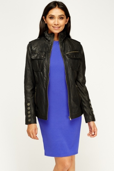 Barneys Originals Charcoal Leather Jacket