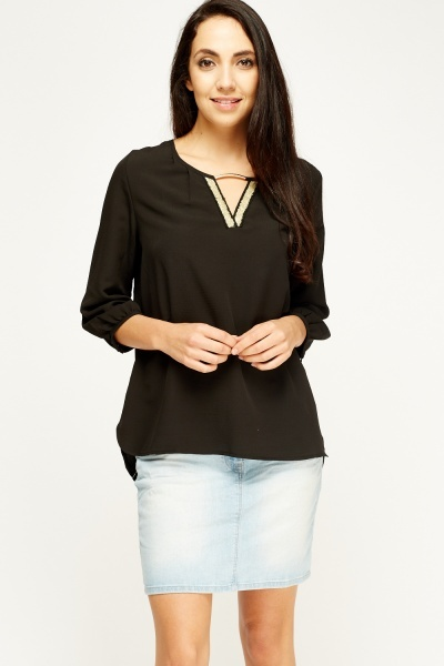Keyhole Sheer Blouse Top