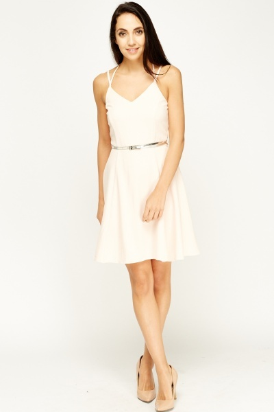 Peach Belted Skater Dress