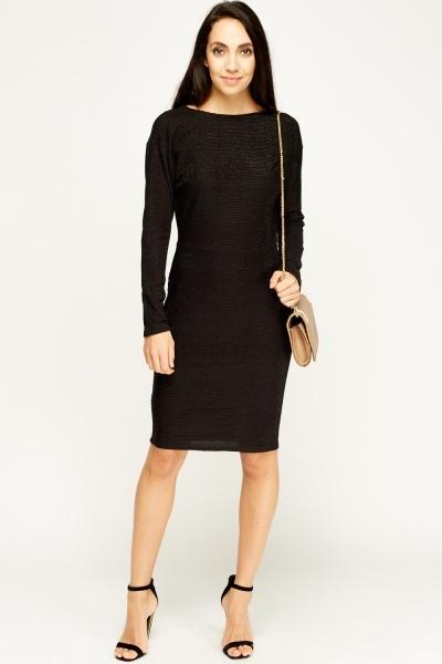 Ribbed Black Bodycon Dress