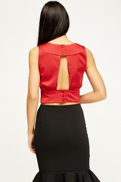 Wine Sateen Crop Top