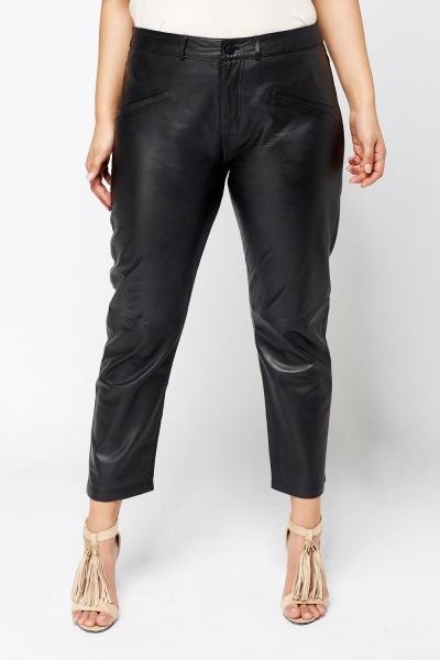 Barley And Taylor Leather Black Trousers