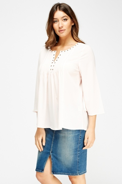 Detailed Trim Flared Sleeve Top