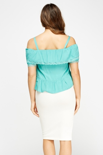Elasticated Turquoise Cold Shoulder Top