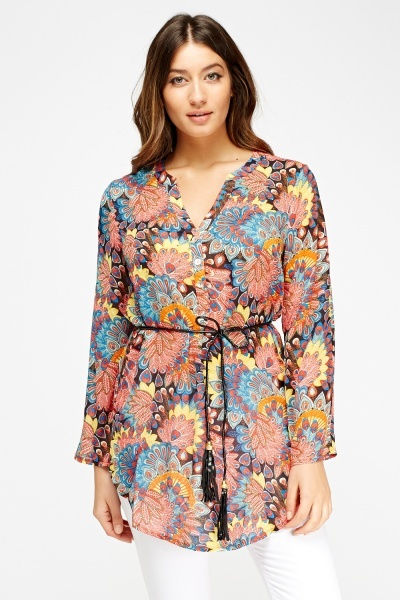 Peacock Feather Print Button Up Top