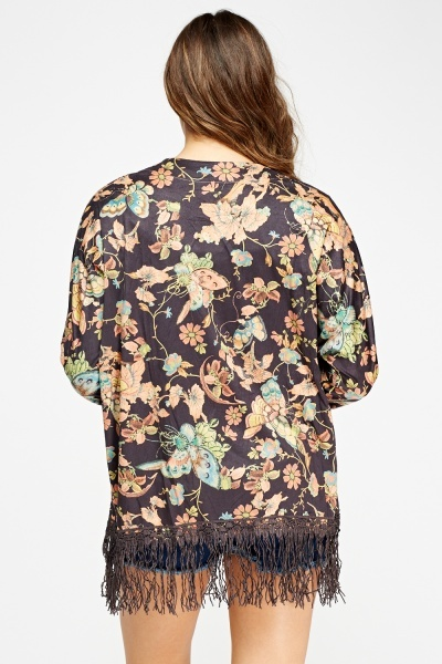 Suedette Embellished Printed Kimono