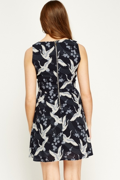 Tenki Blue Bird Print Skater Dress