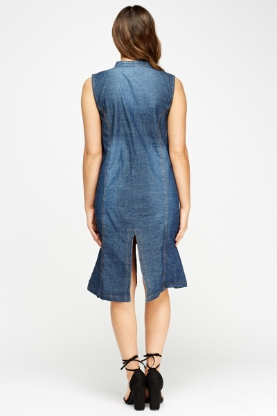Zipped Front Washed Denim Dress