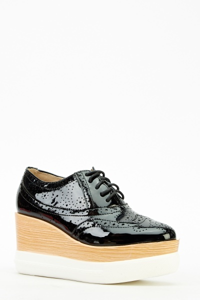 Brogue Platform Contrast Laced Shoe