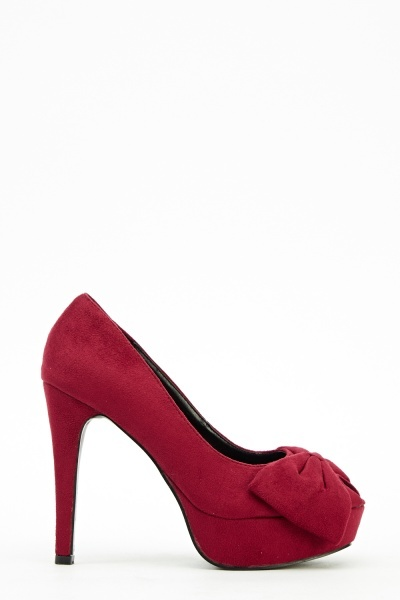 Rose Red Suedette High Heels