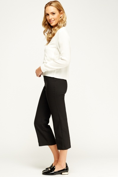 Black Cropped Formal Trousers
