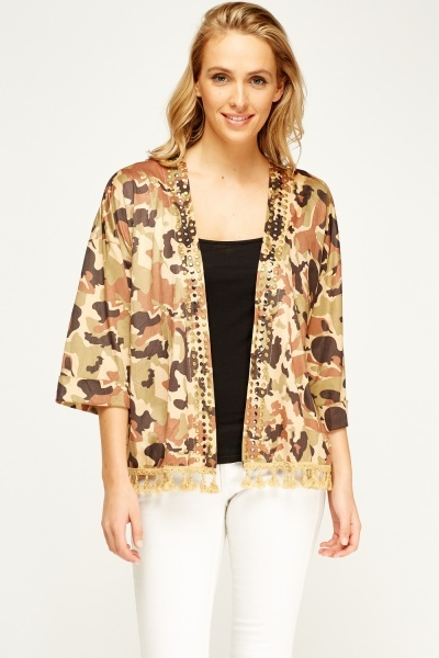 Camouflage Studded Kimono