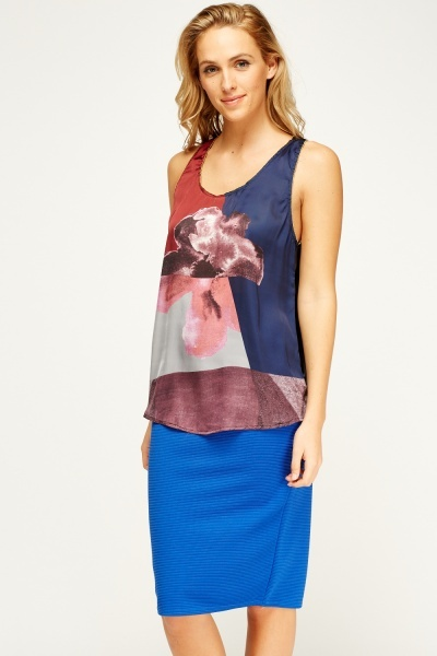 Contrast Print Sleeveless Top