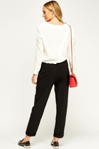 Elasticated Black Trousers