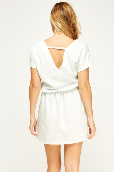 Embroidered Trim Low Neck Dress