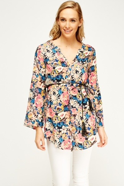Floral Tie Waist Tunic Top