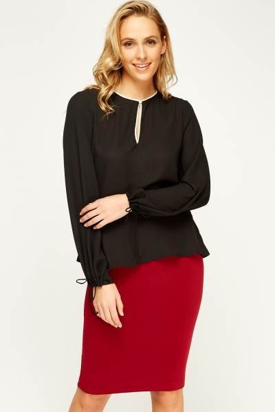 Tie Sleeve Casual Blouse