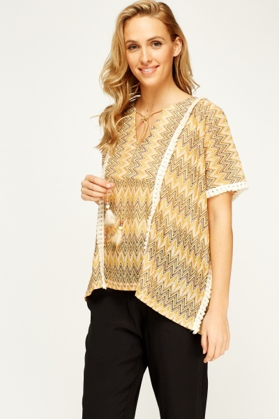 Zig Zag Frayed Box Top