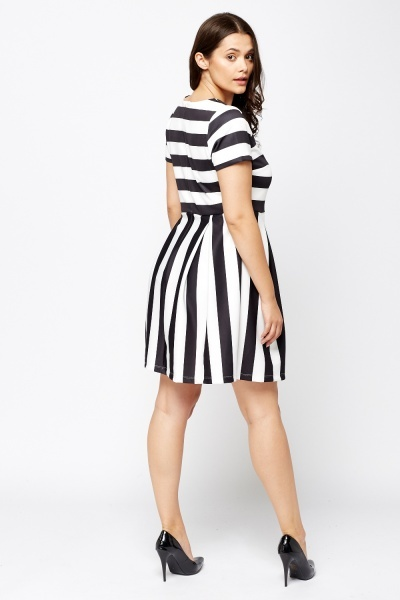 Striped Pleated Skater Dress