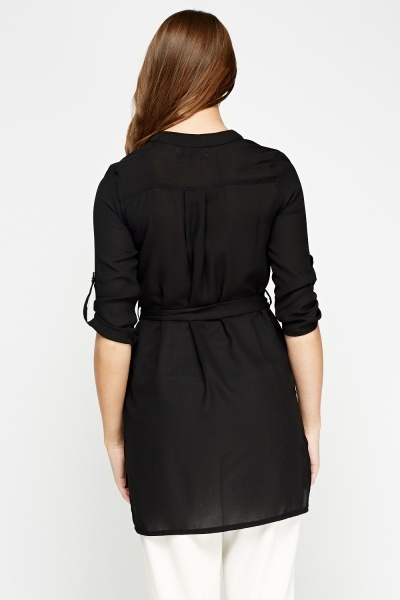 Black Longline Tie Up Shirt