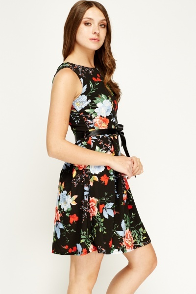 Blue Royal Black Floral Skater Dress