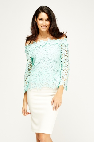By Swan Mint Mesh Off Shoulder Top