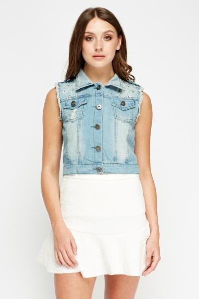 Encrusted Denim Blue Sleeveless Jacket