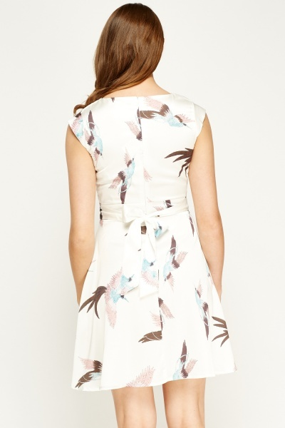 F & P Bird Print Sateen Dress
