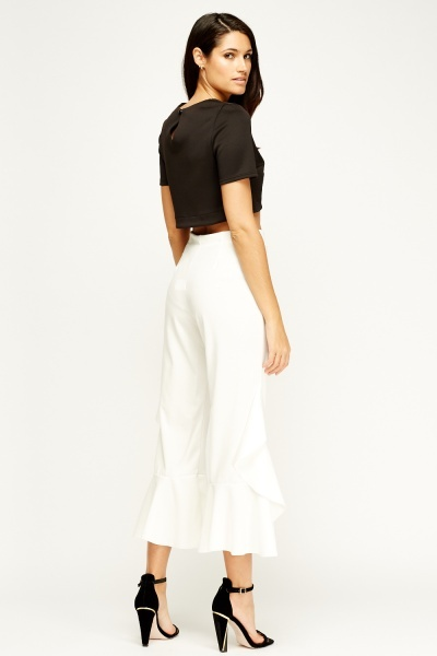 Flam Mode Off White Flared Trousers